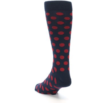 Image of Navy Red Polka Dot Men's Dress Sock (side-2-back-16)