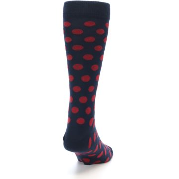 Image of Navy Red Polka Dot Men's Dress Sock (side-1-back-20)