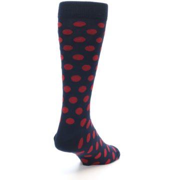Image of Navy Red Polka Dot Men's Dress Sock (side-1-back-21)