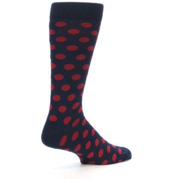 Image of Navy Red Polka Dot Men's Dress Sock (side-1-23)