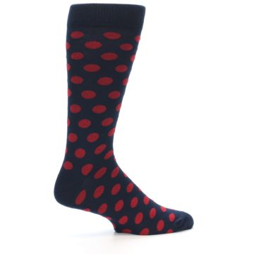 Image of Navy Red Polka Dot Men's Dress Sock (side-1-24)