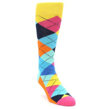 Image of Blues Yellow Pink Argyle Men's Dress Socks (side-1-front-02)