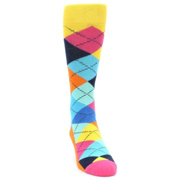 Image of Blues Yellow Pink Argyle Men's Dress Socks (side-1-front-03)