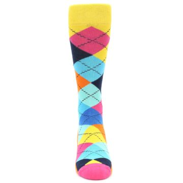 Image of Blues Yellow Pink Argyle Men's Dress Socks (front-04)