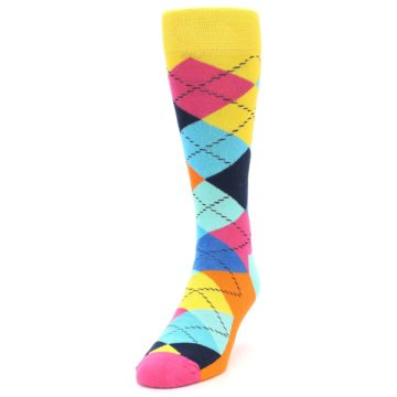 Image of Blues Yellow Pink Argyle Men's Dress Socks (side-2-front-06)