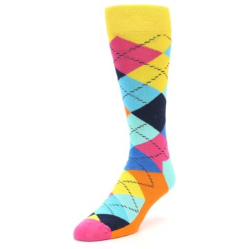 Image of Blues Yellow Pink Argyle Men's Dress Socks (side-2-front-07)