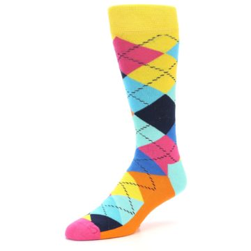 Image of Blues Yellow Pink Argyle Men's Dress Socks (side-2-front-08)
