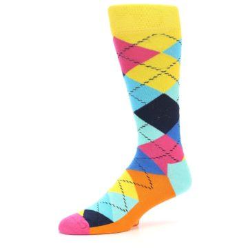 Image of Blues Yellow Pink Argyle Men's Dress Socks (side-2-09)