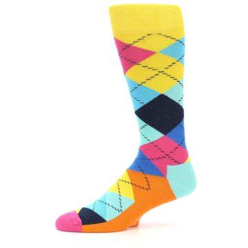 Image of Blues Yellow Pink Argyle Men's Dress Socks (side-2-10)