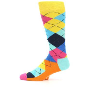 Image of Blues Yellow Pink Argyle Men's Dress Socks (side-2-11)