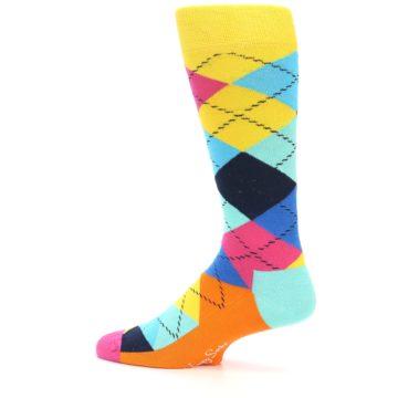 Image of Blues Yellow Pink Argyle Men's Dress Socks (side-2-12)