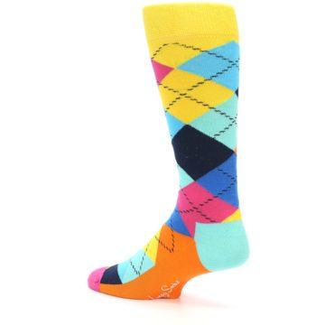Image of Blues Yellow Pink Argyle Men's Dress Socks (side-2-13)