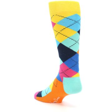 Image of Blues Yellow Pink Argyle Men's Dress Socks (side-2-back-14)
