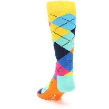 Image of Blues Yellow Pink Argyle Men's Dress Socks (side-2-back-15)
