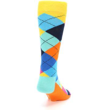 Image of Blues Yellow Pink Argyle Men's Dress Socks (back-19)