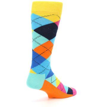 Image of Blues Yellow Pink Argyle Men's Dress Socks (side-1-back-21)