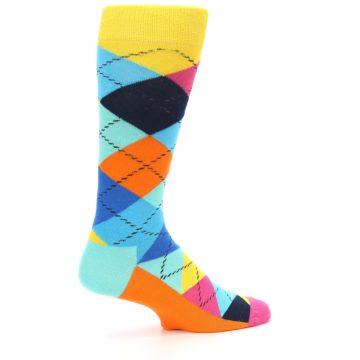 Image of Blues Yellow Pink Argyle Men's Dress Socks (side-1-back-22)