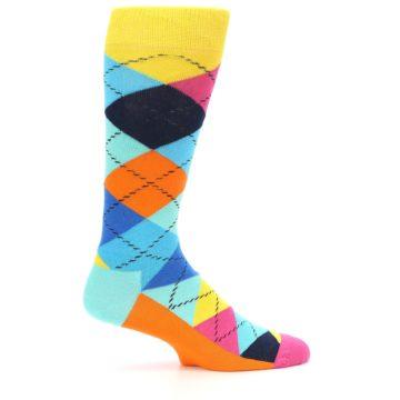 Image of Blues Yellow Pink Argyle Men's Dress Socks (side-1-23)