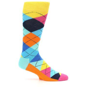 Image of Blues Yellow Pink Argyle Men's Dress Socks (side-1-24)