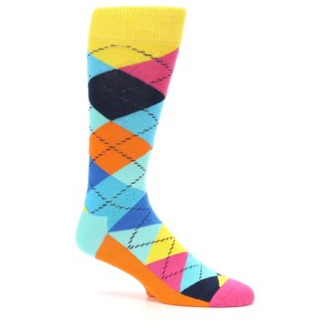 Image of Blues Yellow Pink Argyle Men's Dress Socks (side-1-25)