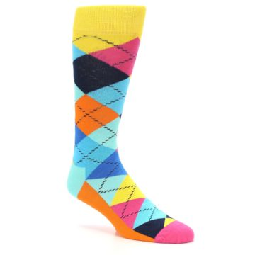Image of Blues Yellow Pink Argyle Men's Dress Socks (side-1-26)