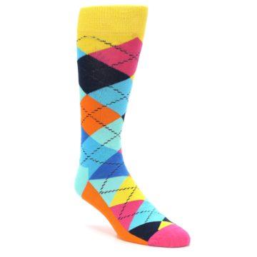 Image of Blues Yellow Pink Argyle Men's Dress Socks (side-1-27)