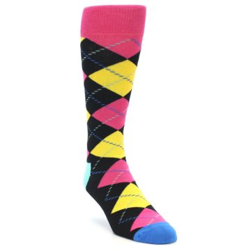 Image of Black Yellow Pink Argyle Men's Dress Socks (side-1-front-02)