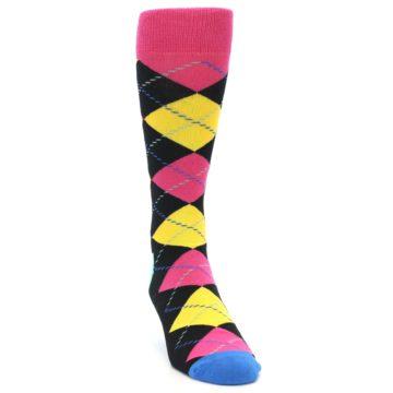 Image of Black Yellow Pink Argyle Men's Dress Socks (side-1-front-03)
