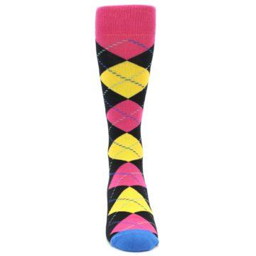 Image of Black Yellow Pink Argyle Men's Dress Socks (front-04)