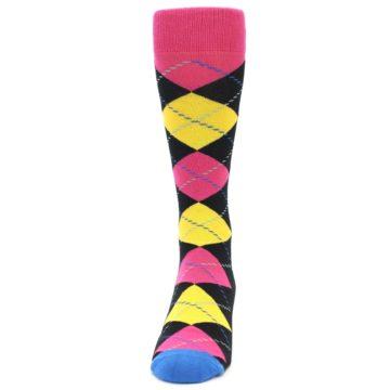 Image of Black Yellow Pink Argyle Men's Dress Socks (front-05)