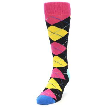 Image of Black Yellow Pink Argyle Men's Dress Socks (side-2-front-06)