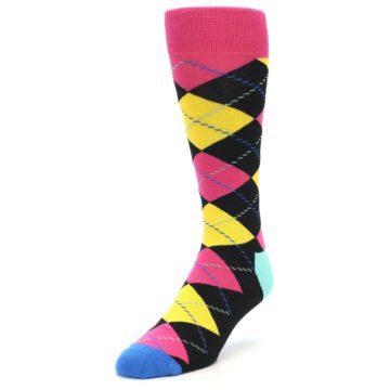 Image of Black Yellow Pink Argyle Men's Dress Socks (side-2-front-07)