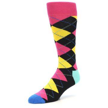 Image of Black Yellow Pink Argyle Men's Dress Socks (side-2-front-08)