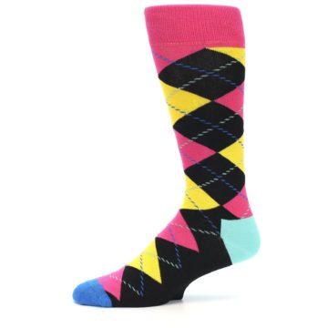 Image of Black Yellow Pink Argyle Men's Dress Socks (side-2-10)
