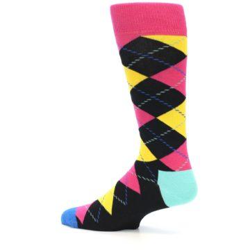 Image of Black Yellow Pink Argyle Men's Dress Socks (side-2-12)