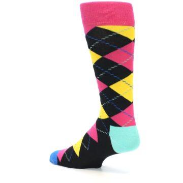 Image of Black Yellow Pink Argyle Men's Dress Socks (side-2-13)