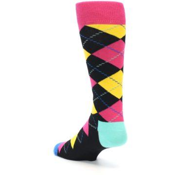 Image of Black Yellow Pink Argyle Men's Dress Socks (side-2-back-14)