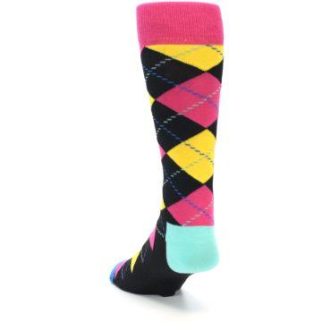 Image of Black Yellow Pink Argyle Men's Dress Socks (side-2-back-15)