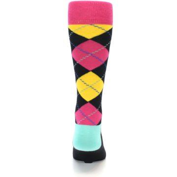 Image of Black Yellow Pink Argyle Men's Dress Socks (back-17)