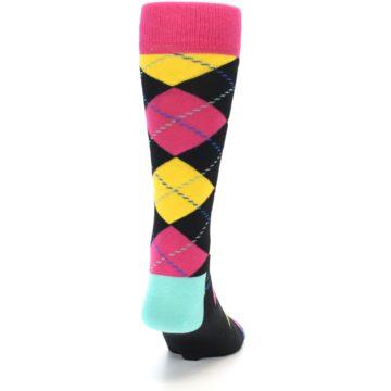 Image of Black Yellow Pink Argyle Men's Dress Socks (back-18)