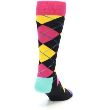 Image of Black Yellow Pink Argyle Men's Dress Socks (back-19)
