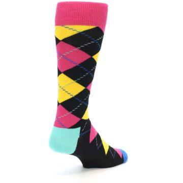 Image of Black Yellow Pink Argyle Men's Dress Socks (side-1-back-20)