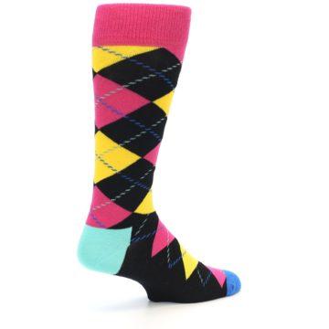 Image of Black Yellow Pink Argyle Men's Dress Socks (side-1-back-21)