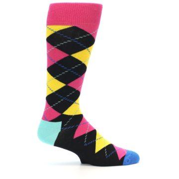Image of Black Yellow Pink Argyle Men's Dress Socks (side-1-23)