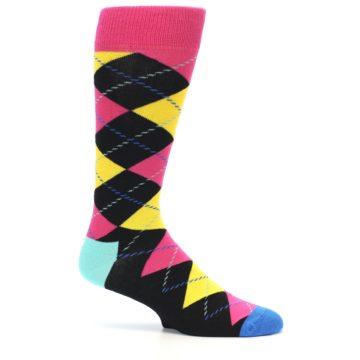 Image of Black Yellow Pink Argyle Men's Dress Socks (side-1-24)