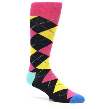 Image of Black Yellow Pink Argyle Men's Dress Socks (side-1-25)