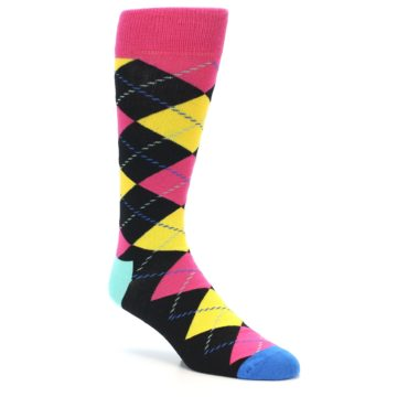 Image of Black Yellow Pink Argyle Men's Dress Socks (side-1-26)