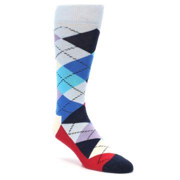 Image of Blues White Red Argyle Men's Dress Socks (side-1-front-01)