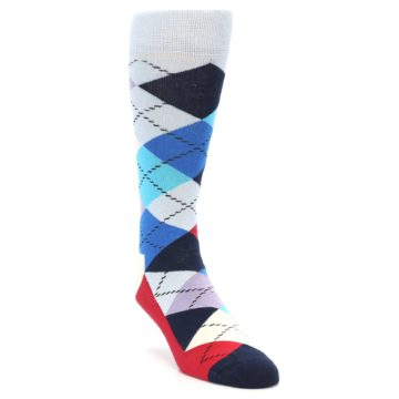 Image of Blues White Red Argyle Men's Dress Socks (side-1-front-02)