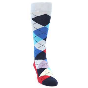 Image of Blues White Red Argyle Men's Dress Socks (side-1-front-03)